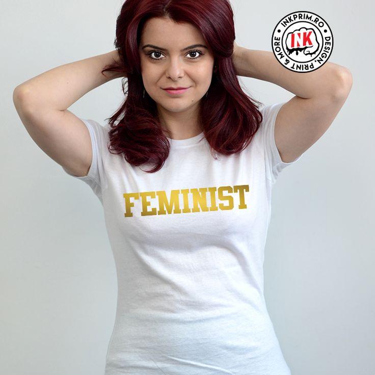 Tricou Feminist, personalizat cu print auriu