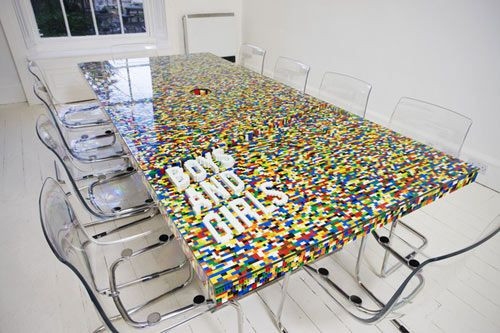 LEGO Boardroom Table - Design Milk - It would be so cool to have students make a table like this for the library!