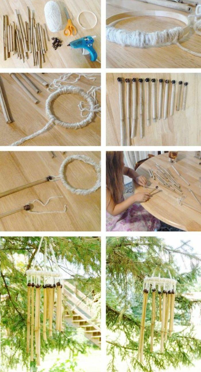 bambou en jardinière, comment faire un carillon, étapes à suivres