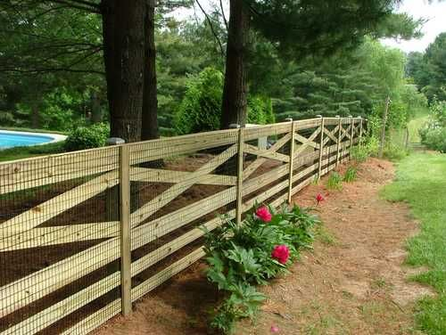 Wood fencing with mesh lining. Looks nice and keeps critters out!