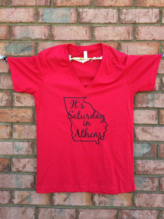 UGA It's Saturday in Athens Glitter VNeck by JanaBelles on Etsy
