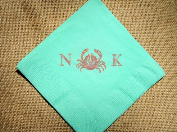Vintage Nautical Wedding Decor Personalized Crab Napkins in Mint Paper Wedding Cocktail Napkins with Coral Sparkle Ink- Set of 50