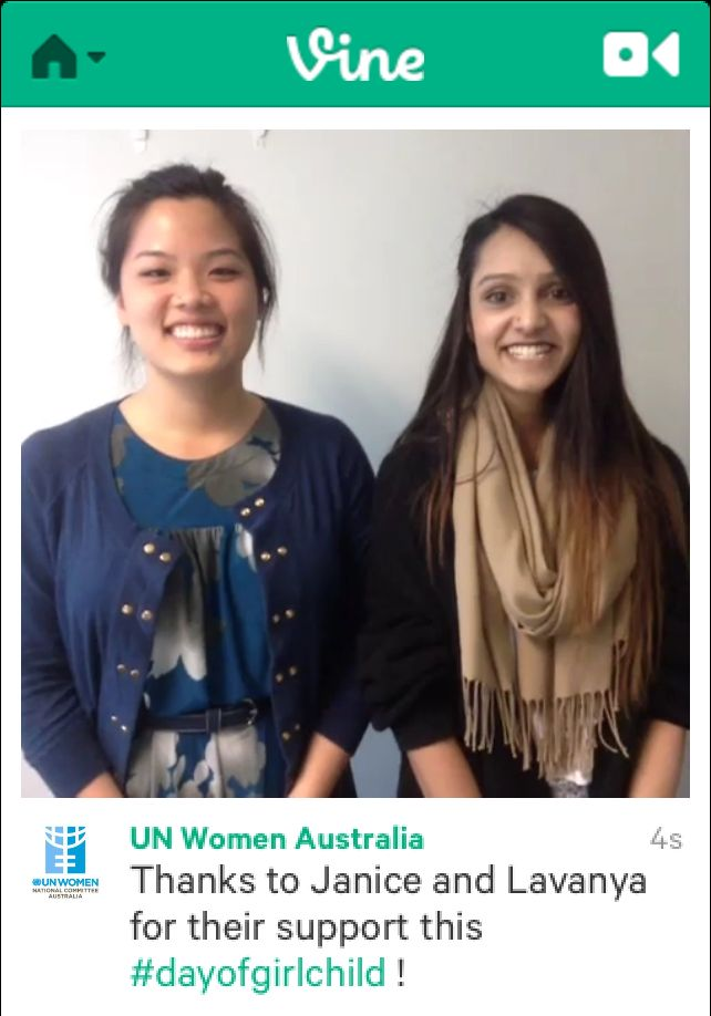 Communications Interns Janice and Lavanya participating in a Vine video for International Day of the Girl Child