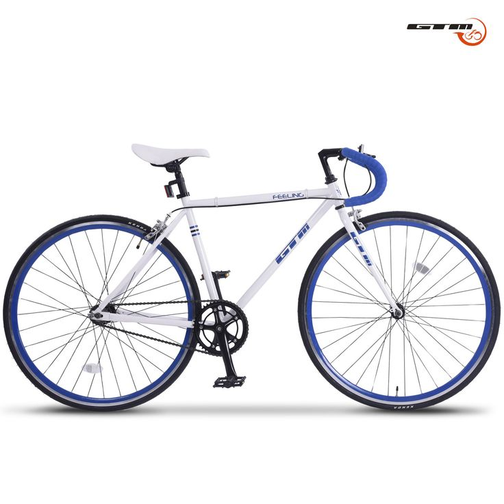 Aluminum Frame Road Bike Racing Bicycle 700C Single Speed  Fixed Gear White Blue