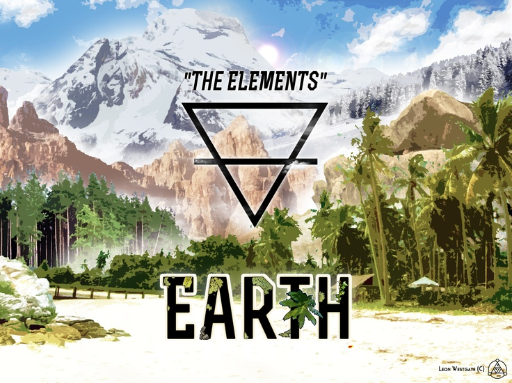 """The Elements: Earth #1"" Alchemic symbols, one done! #alchemy #triangle #earth #landscape"