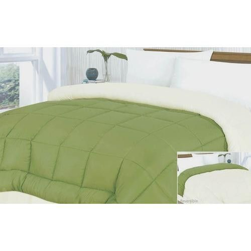 Down Alternative Reversible Ivory/Green Comforter Size: Full / Queen