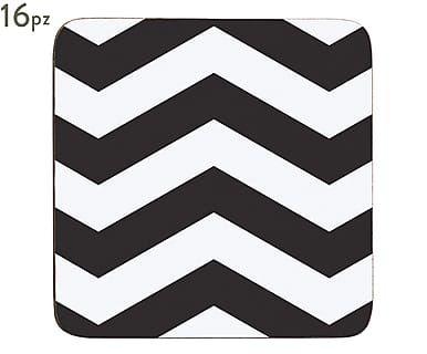 Set di 16 sottobicchieri in sughero nero, 10x10x0 cm