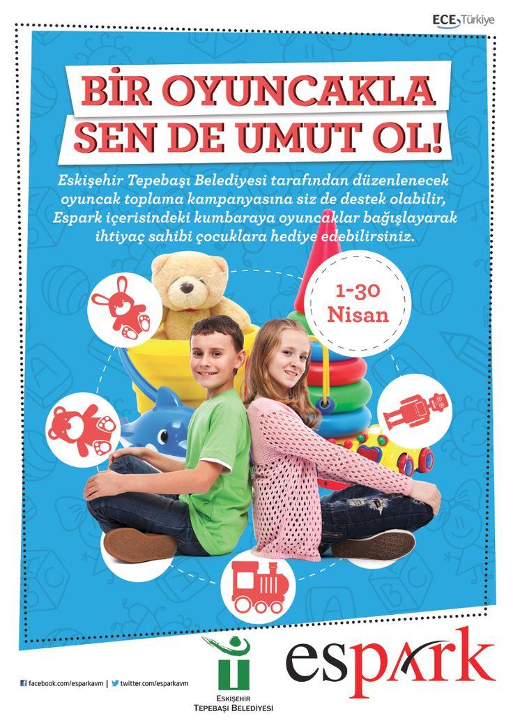 """Eskişehir Tepebaşı Belediyesi ve Espark Alışveriş Merkezi işbirliğiyle 1-30 Nisan tarihleri arasında """"Bir Oyuncakla Sen de Umut Ol"""" sloganıyla oyuncak toplama kampanyası düzenleniyor. Espark'a gelen ziyaretçiler diledikleri takdirde Espark'ta kurulan kumbaraya oyuncakları bırakarak kampanyaya destek olabilecekler. Oyuncak toplama kampanyası ile ihtiyaç sahibi çocuklara oyuncaklar ulaştırılacak."""