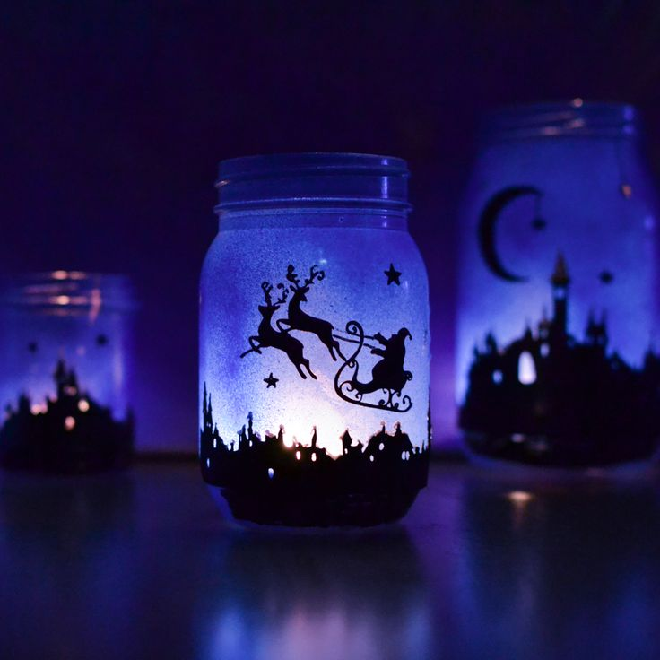 FREE PNG printable print and cut templates Download the design of the silhouette town to make the magical Christmas lanterns,
