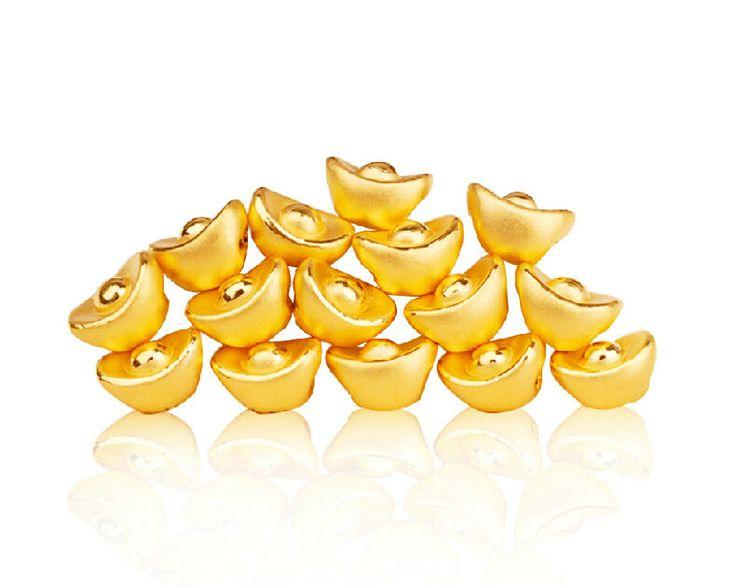 FINE JEWELRY 999 24K Yellow gold YuanBao Pendant  0.55g