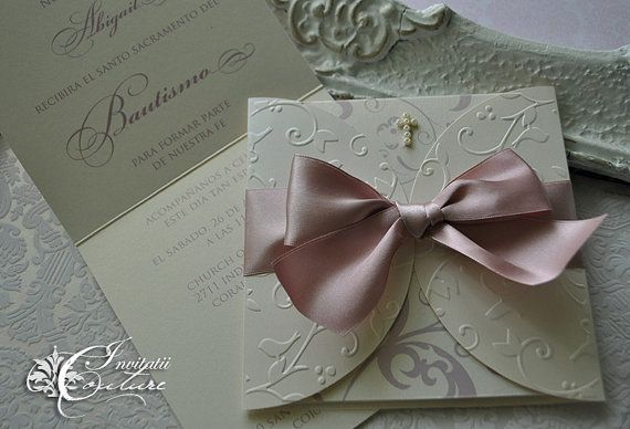 Baptism Invitation with Beads Cross and Satin by InvitatiiCouture