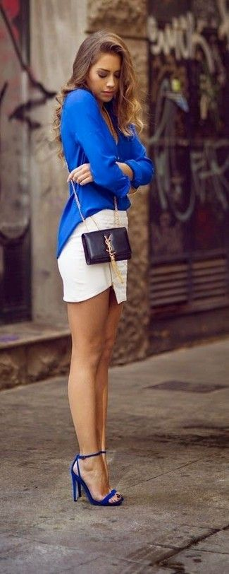 Women's Blue Long Sleeve Blouse, White Mini Skirt, Blue Leather Heeled Sandals, Black Leather Crossbody Bag
