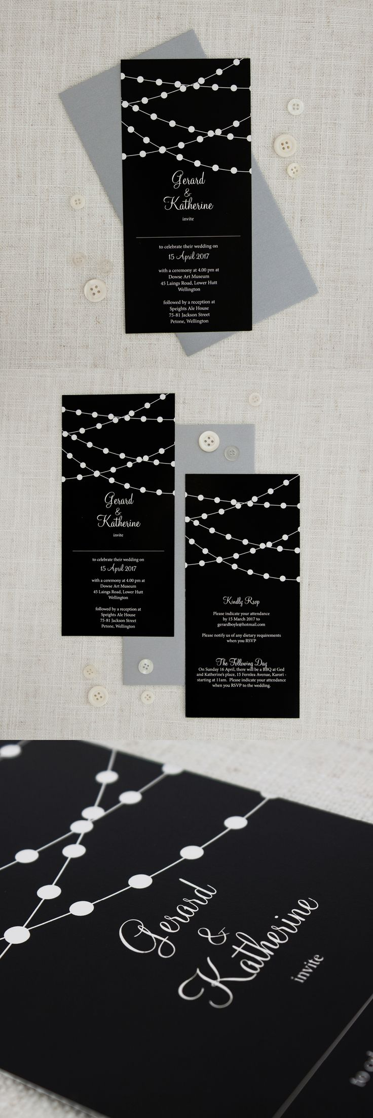 wedding invitation wording with no reception%0A Fairy Lights Long Rectangle Wedding Invitation