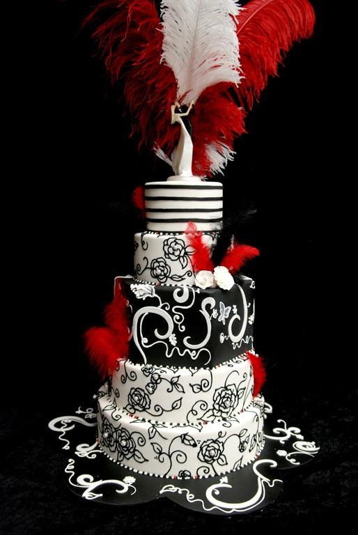 black white and red wedding cake