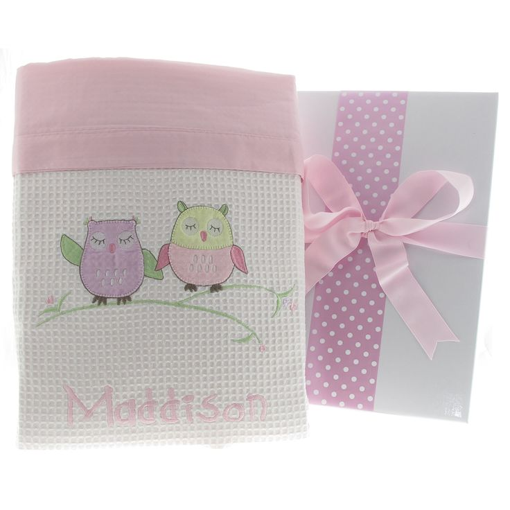 36 best personalised baby blankets images on pinterest boys baby owl personalised cot blanket negle Images