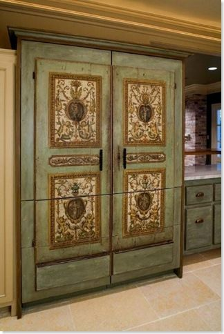 painted refrigerator front - fabulous!