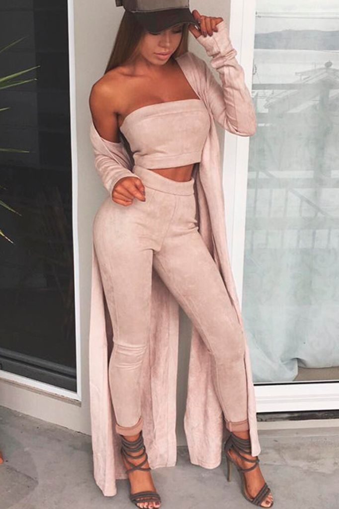 Suede Two Piece Set