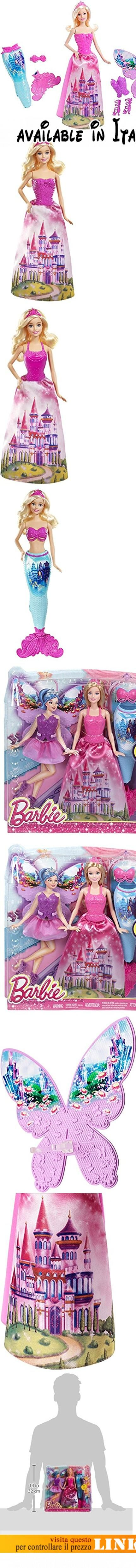 Barbie CFF48 - Mix & Match Personaggi, Deluxe. Include una bambola e tre incantevoli abiti da fata incantata. Il look da principessa è impreziosito da un bustino rosa, una gonna lunga, coroncina e scarpe. La magnifica sirena ha un top rosa, coda azzurra e pinna rosa. Il suo abito incantato include il bustino viola, gonna fatata, allegre scarpe a tema e ali da fata. Accessori facili da rimuovere #Giocattolo #TOYS_AND_GAMES