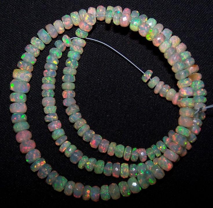 "51Ct Premium Insane Metallic Fire Ethiopian Welo Opal Micro Faceted beads 16"" #ShineStarInternational"