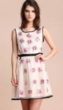 Pink Flowers Sleeveless Contrast Trims Short Dress $109 #SheInside