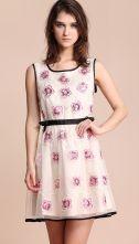 Pink Flowers Sleeveless Contrast Trims Short Dress $66.13 #SheInside