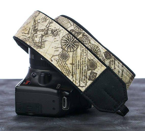 Old World Map Camera Strap dSLR Pocket Camera Neck Strap