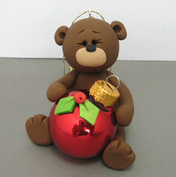 Teddy Bear polymer clay Christmas Ornament by clayinaround on Etsy