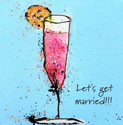 Glas roze champagne met 'Let's get married!'. Romantische trouwkaarten voor de mooiste dag van je leven! http://www.trouwpost.nl/trouwkaarten/romantisch
