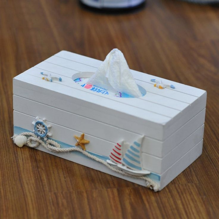 Mediterranean Style Tissue Box Napkin Organizer Towel Paper Bag Holder Ocean Theme Home Decoration
