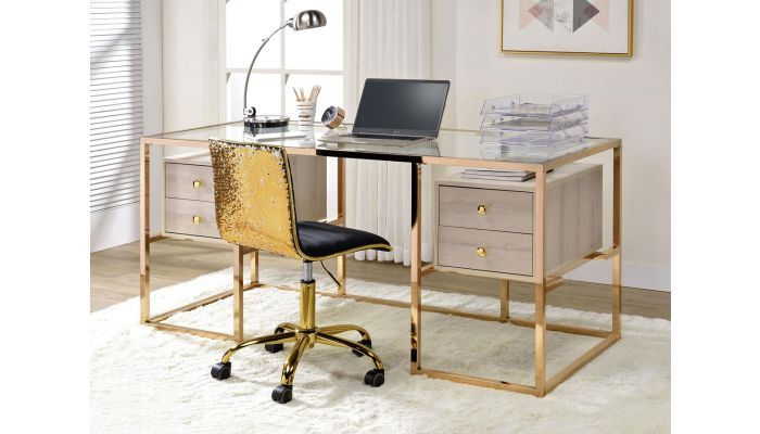 Edelina Gold Finish Home Office Desk In 2020 Elegant Living Room Furniture Home Office Desks Home