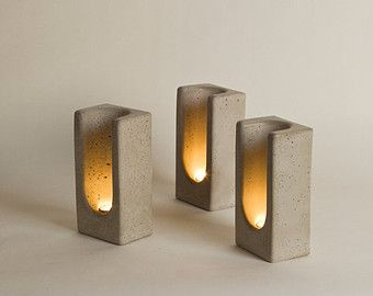 The item for sale here is a single Tealight Totem in Concrete The Tealight Totem in Concrete shelters a single candle, bending light to create