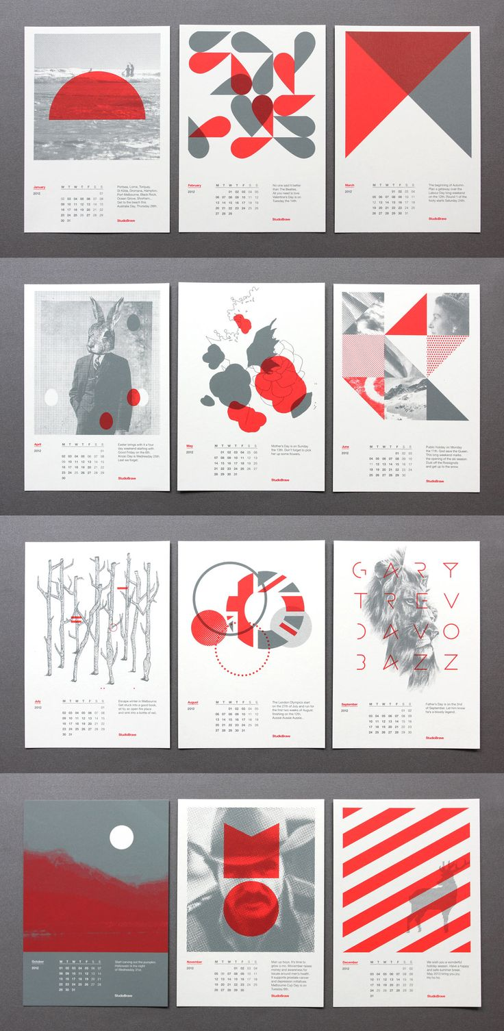 "2012 Calendar Cards / StudioBrave / ""Our latest self initiated studio project is this set of calendar cards. The limited edition run of A5 cards were beautifully screen printed by Superscreen"""