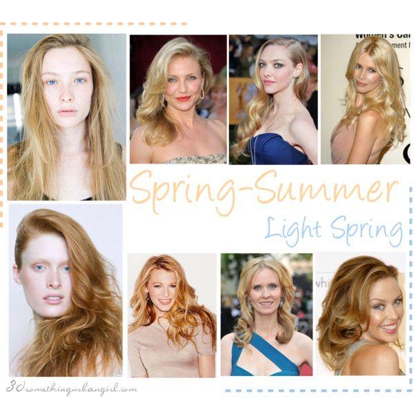 Spring-Summer (Light Spring) seasonal colouring women by thirtysomethingurbangirl on Polyvore