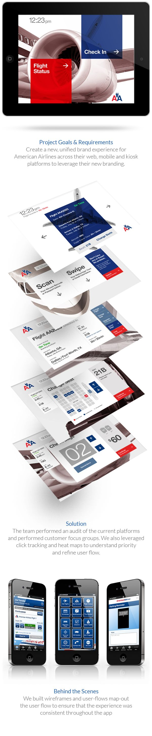 American Airlines Web & Mobile Kiosk by Steven Fisher, via Behance