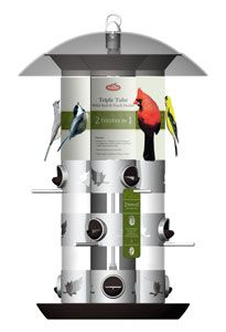 329 Triple Tube Feeder. 2 Feeders in 1 Port design. Changes from Sunflower/mixed seed to thistle seed/finch mix in seconds. Can be hung or pole mounted. Nine Feeding stations. Funnel shaped top for easy filling.
