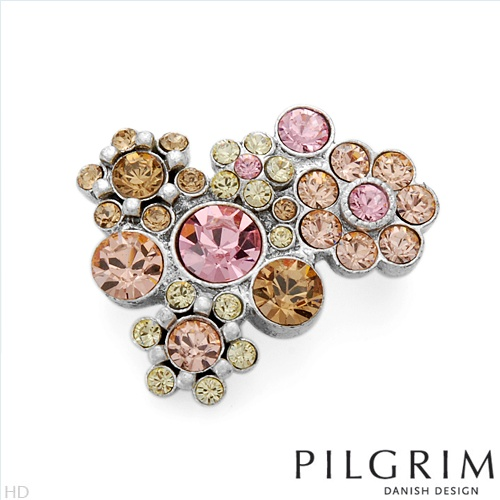 PILGRIM SKANDERBORG, DENMARK Superb Brand New Brooch With Genuine Crystals  Silver Base metal. Total item weight 7.7g  Length 28.0mm - Certificate Available.