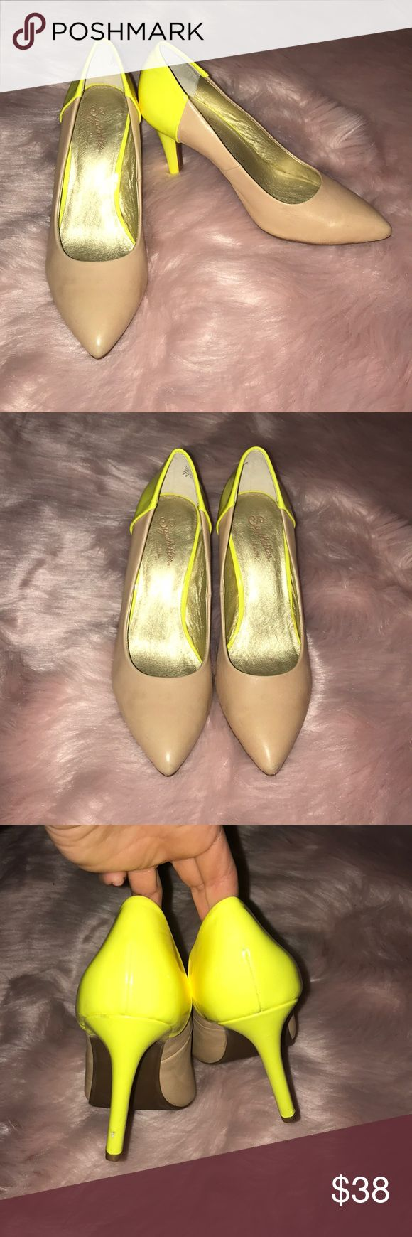 Seychelles Nude and Neon Pumps In great condition with some wear on the back (shown in photos) Seychelles Shoes Heels