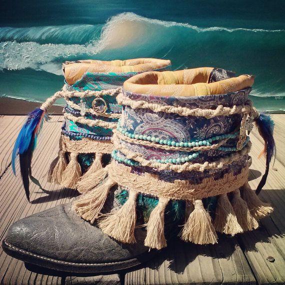 Personalizado reciclado vaquero Vintage Boho botas-sirena