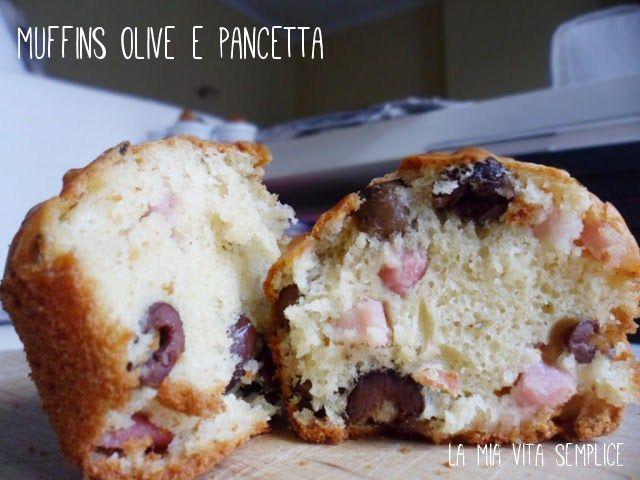 Muffins con olive e pancetta