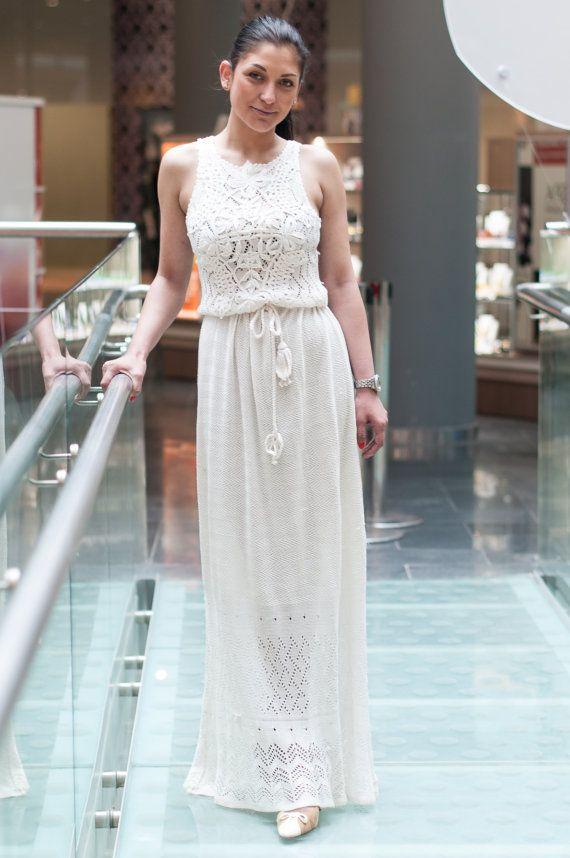 crochet white dress, KNITTED Dress,White Viscose Dress Maxi Dress ...