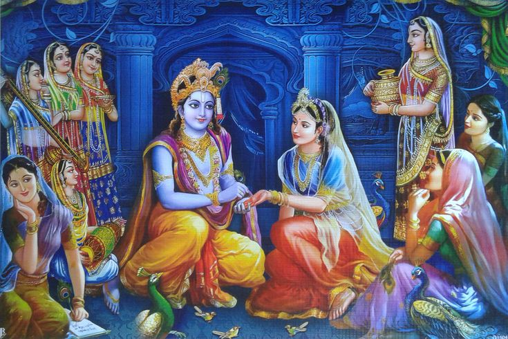 "Krishna Applying Henna to Radha's Palm, Gopis - POSTER (Matte Paper 13""x18"") | eBay"