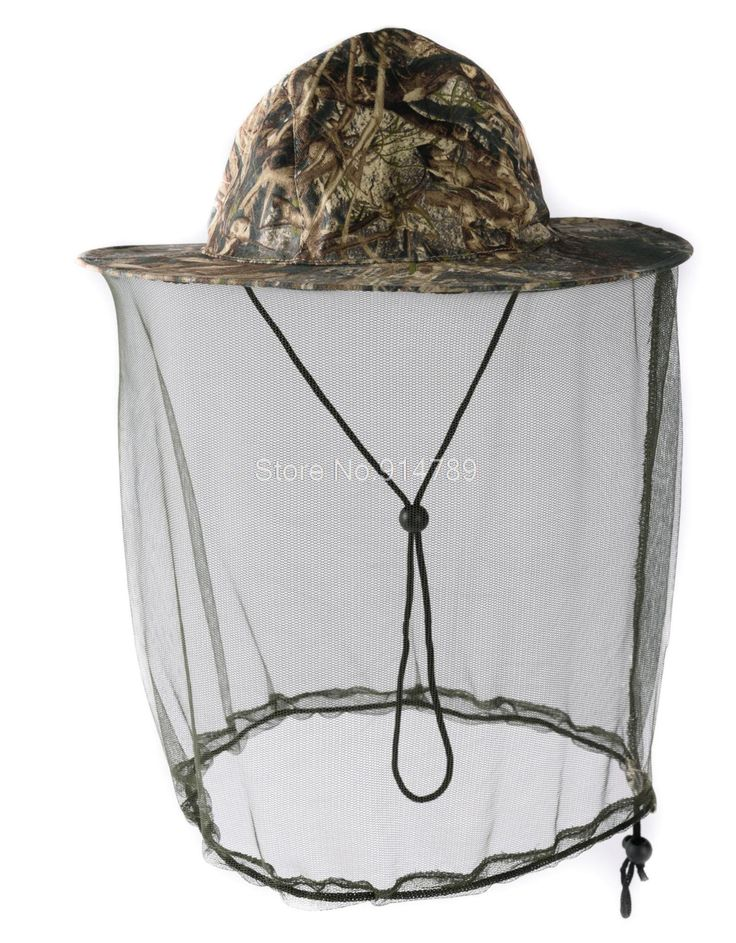 TACTICAL HUNTING CAMOUFLAGE BOONIE REAL TREE HAT CAP WITH MOSQUITO NET L-35821