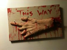 View Item: BLOODY LEFT POINTING HAND NAILED TO BOARD HALLOWEEN HAUNT PROP HORROR HAND MADE
