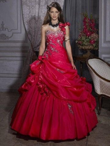 2012 Style Ball Gown One Shoulder Beading  Sleeveless Floor-length Taffeta Red Prom Dress / Evening Dress