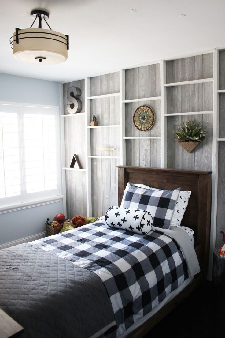 A little boy's bedroom can be both ready for play and reflect a classic style that he'll not soon outgrow. This all-American boy's room is highlighted by natural finishes and rustic elements. The Weekender delivers once again with a trundle bed, exposed stud shelf wall, and floating desk projects - among others - completed in one weekend! Click to watch.