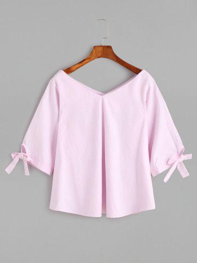 Blusa con cuello en V de manga con cordón - rosa