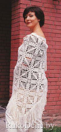 Ажурная шаль с узором из квадратов, связанная крючком :: Шапочки, шарфики, шали :: Женская одежда :: Вязание крючком/Women's crocheted caps, scarves, shawles :: RukoDelie.by