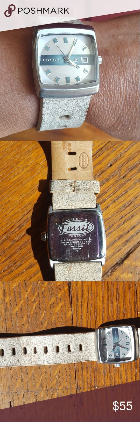 White Retro Square Fossil Watch With Date PRICE GAME !! Unique square watch with weathered-look leather band with date from Fossil. Excellent used condition. Needs battery. Fossil Accessories Watches
