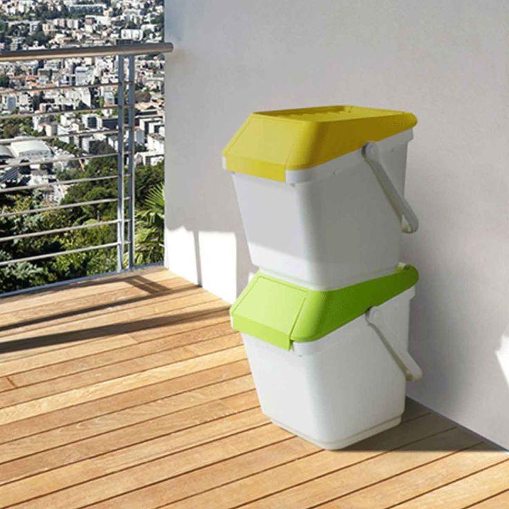 Poubelle de recyclage blanche et jaune empilable (plusieurs coloris)