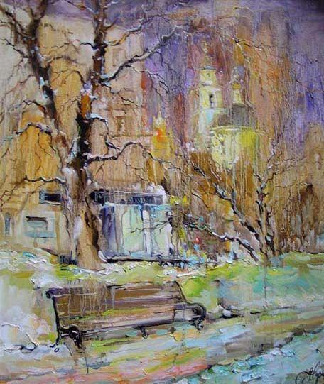 художник  Чарина Анна,  Зимний вечер на Никитском